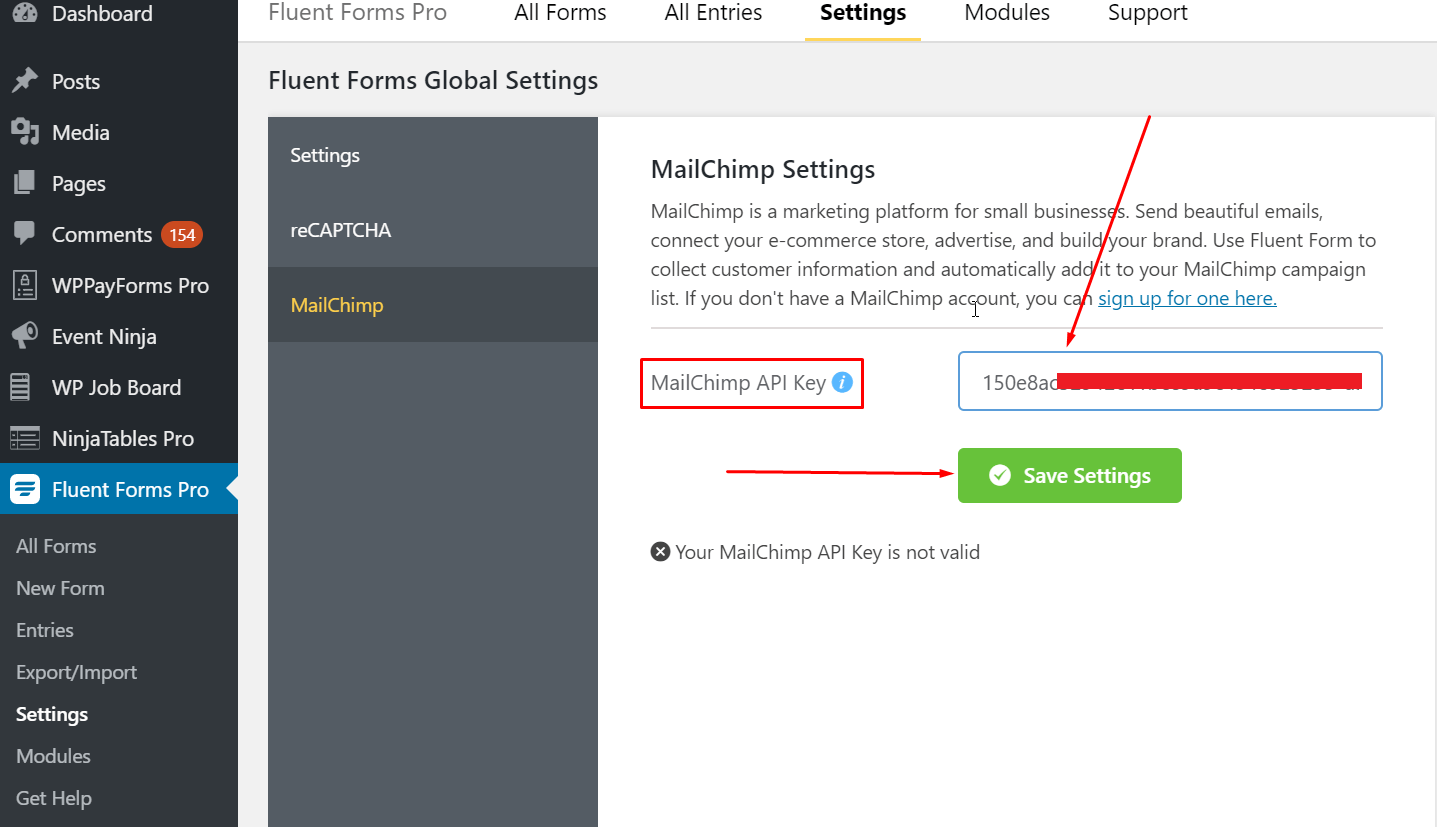 WP Fluent Form and MailChimp API Key Setting