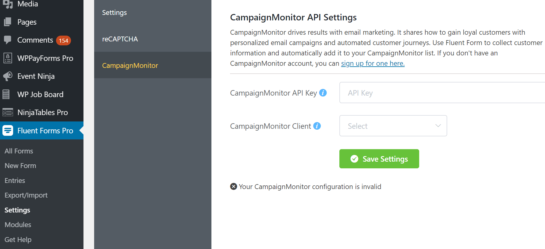 Campaign Monitor Integration with WP Fluent Form WordPress Plugin
