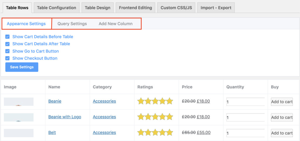 WooCommerce product tables wpmanageninja