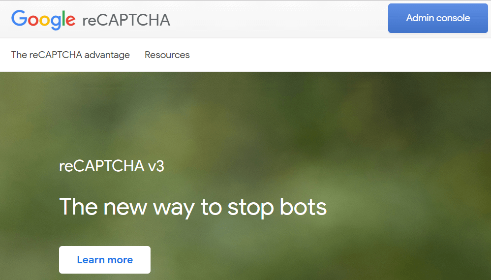 Click admin console button on Google reCAPTCHA page Fluent Forms