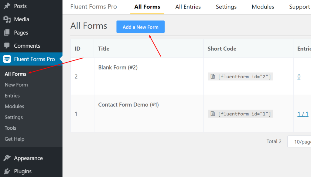 How to create an inline form with WP Fluent Forms