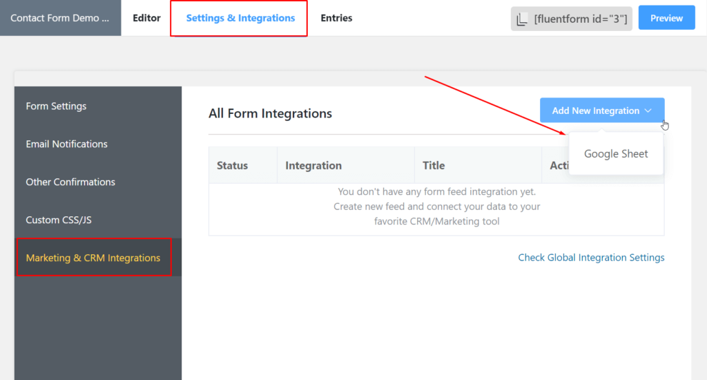 google sheets WordPress integration Fluent Forms