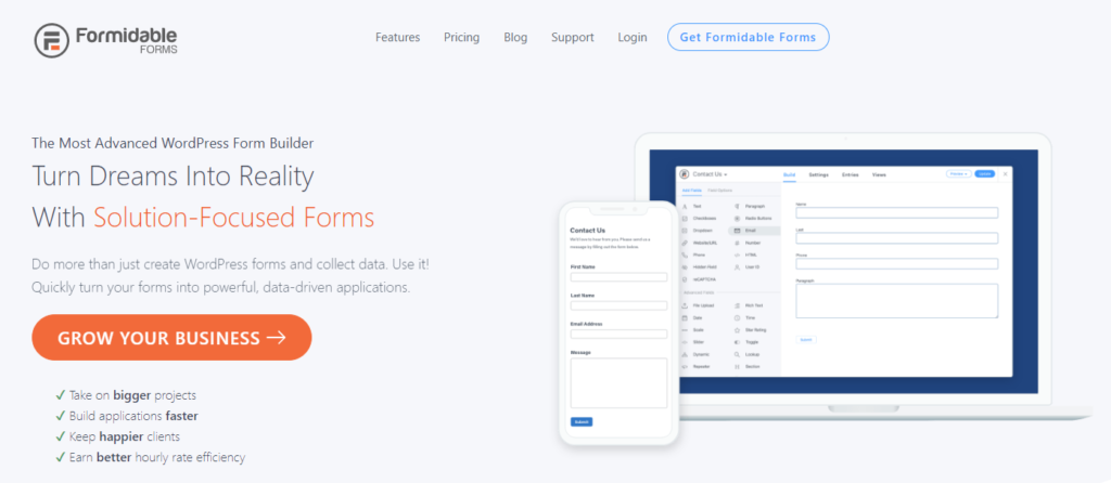 Formidable Forms is an efficient form builder plugin