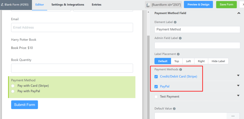 Payment Method Field WP Fluent Forms