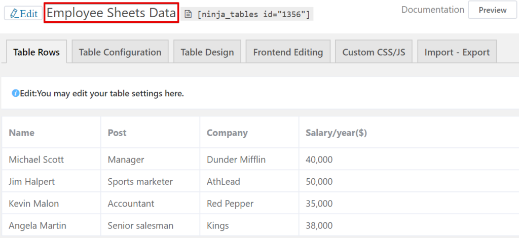 embed Google Sheets into WordPress tables with Ninja Tables: Google Sheets data table integration