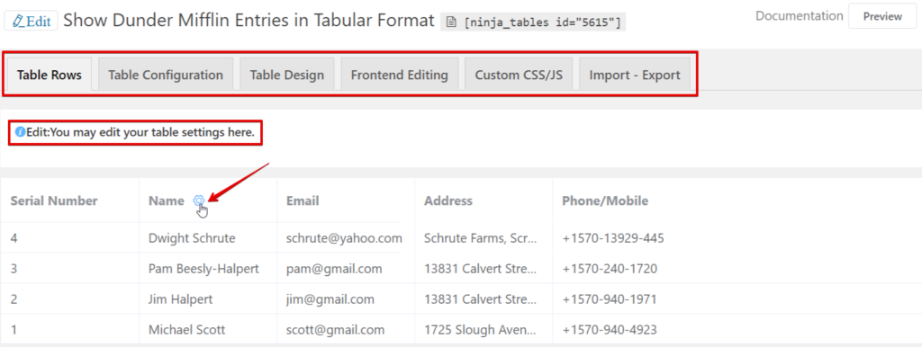 input form entries in WordPress tables