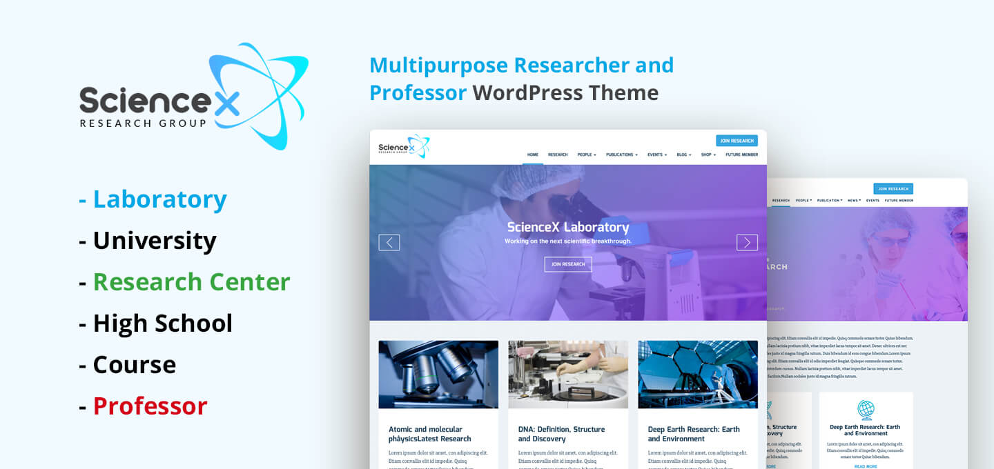 ScienceX – Multipurpose Education, Researcher & Professor WordPress Theme